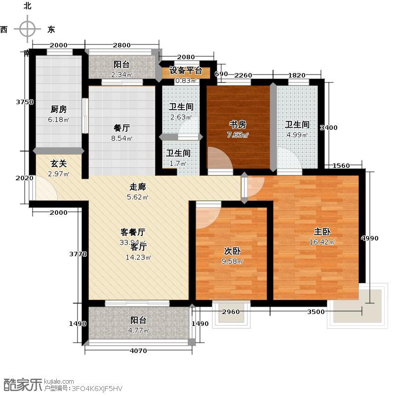 达安春之声二期119.00㎡房型: 三房; 面积段: 119 -135 平方米;户型