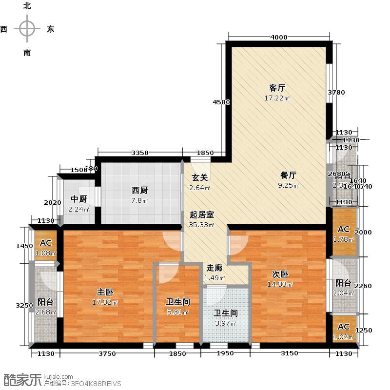 领秀新硅谷B区洋房转角5#11#首层01两室两厅两卫户型