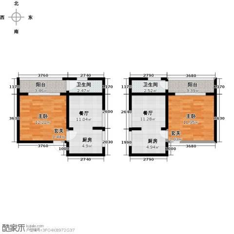 泉倾天下2室2厅2卫0厨58.34㎡户型图