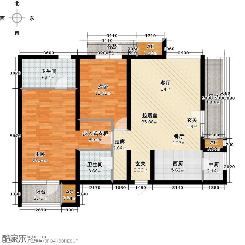领秀新硅谷B区洋房转角5#11#首层02两室两厅两卫户型