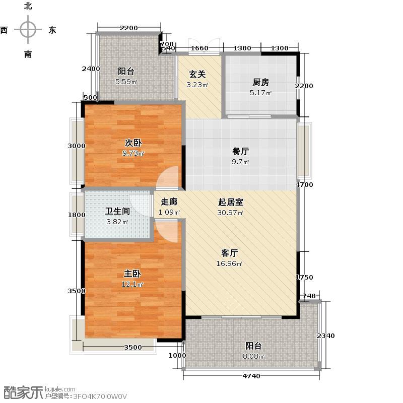 汇荣桂林桂林90.00㎡N户型2室2厅1卫