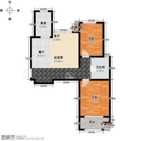 金桥澎湖山庄2室0厅1卫1厨90.00㎡户型图