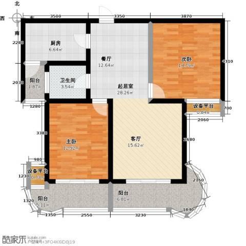鲍德・现代逸城2室0厅1卫1厨96.00㎡户型图