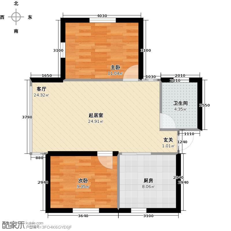 北岸七英里64.01㎡二居一厅使用面积64.01平方米户型2室1厅1卫