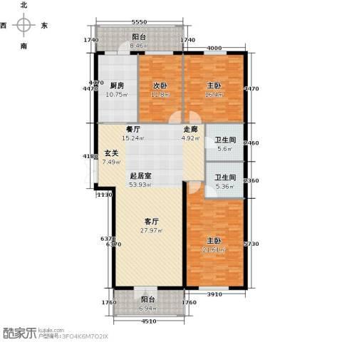 北岸七英里3室0厅2卫1厨152.00㎡户型图