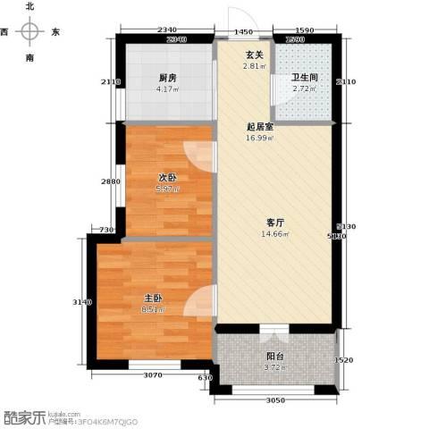 北岸七英里2室0厅1卫1厨49.00㎡户型图
