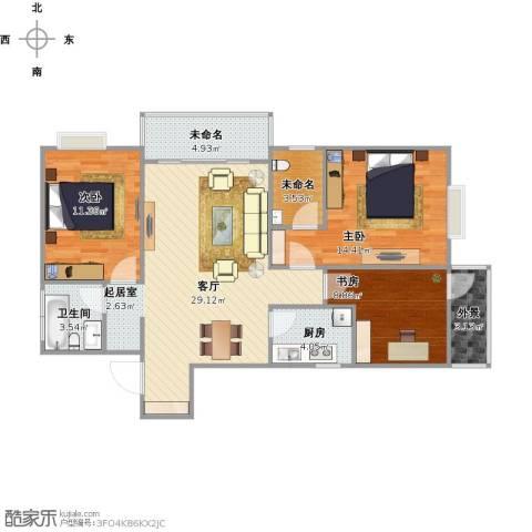 测试3室1厅1卫1厨113.00㎡户型图