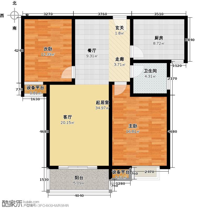 丽水金都丽水金都M户型2室2厅1卫1厨93.96㎡户型2室2厅1卫