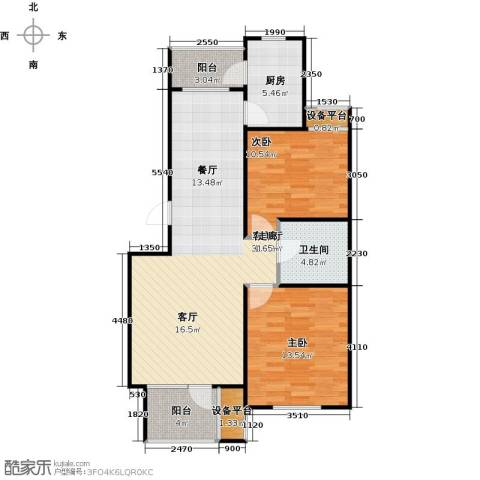 芒果郡2室1厅1卫1厨102.00㎡户型图
