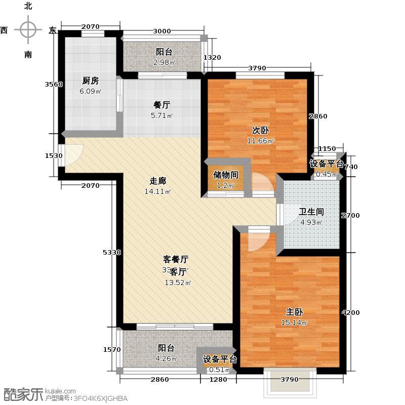 达安春之声二期97.00㎡房型: 二房; 面积段: 97 -107 平方米;户型