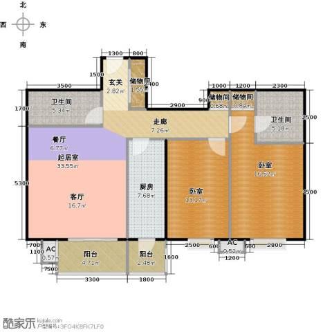 瑞丽江畔2卫1厨126.00㎡户型图