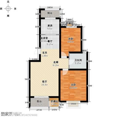 津品鉴筑2室0厅1卫1厨108.00㎡户型图