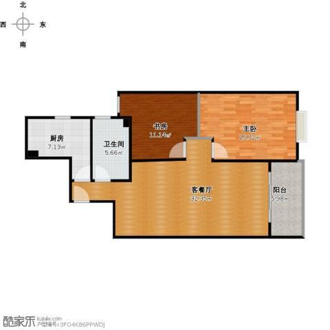 和泰玫瑰园2室1厅1卫1厨105.00㎡户型图