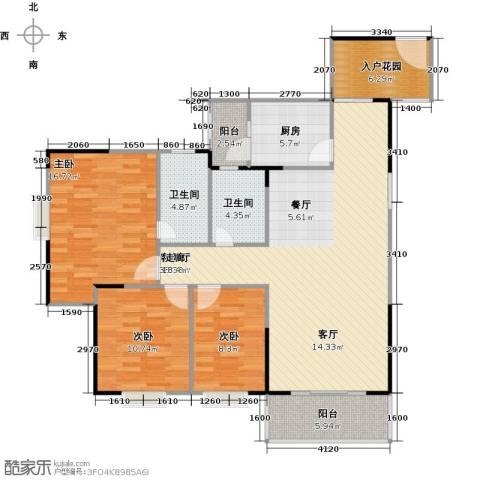 南海佳园3室1厅2卫1厨120.00㎡户型图