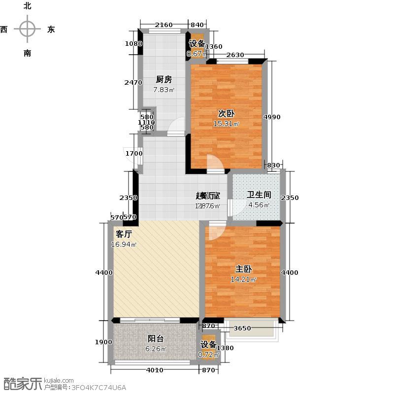 城市之光88.00㎡多层电梯洋房B户型2室2厅1卫