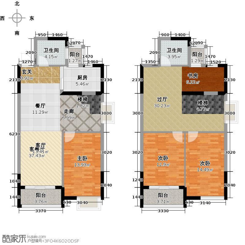 瑞�国际公馆户型3室1厅2卫1厨