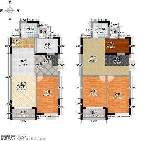 瑞�国际公馆3室1厅2卫1厨151.00㎡户型图