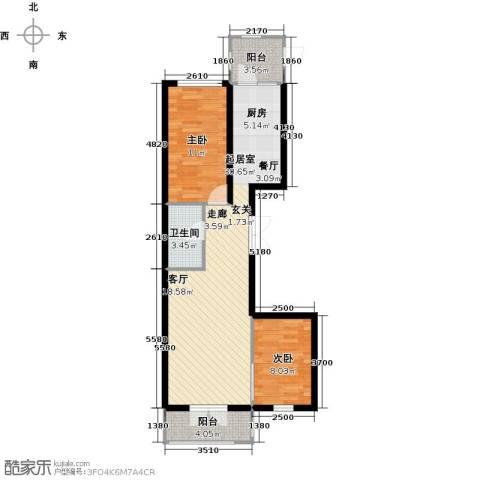 北岸七英里2室0厅1卫0厨70.00㎡户型图