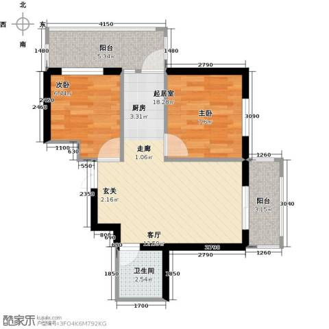 北岸七英里2室0厅1卫0厨49.00㎡户型图