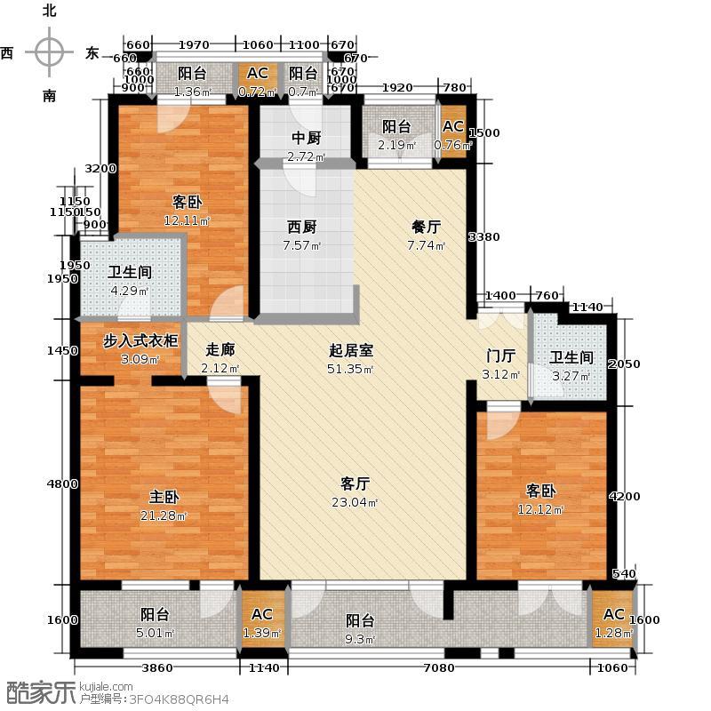 领秀新硅谷155.00㎡B区洋房1、3、4号楼1层三室两厅两卫户型