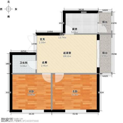 北岸七英里2室0厅1卫1厨62.00㎡户型图