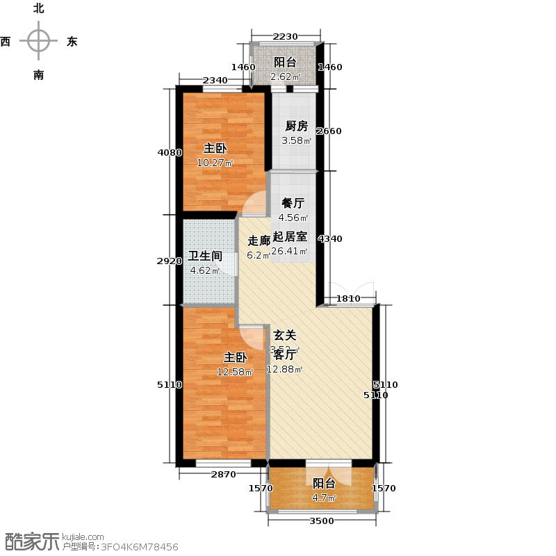 北岸七英里73.90㎡两室一厅一卫户型2室1厅1卫