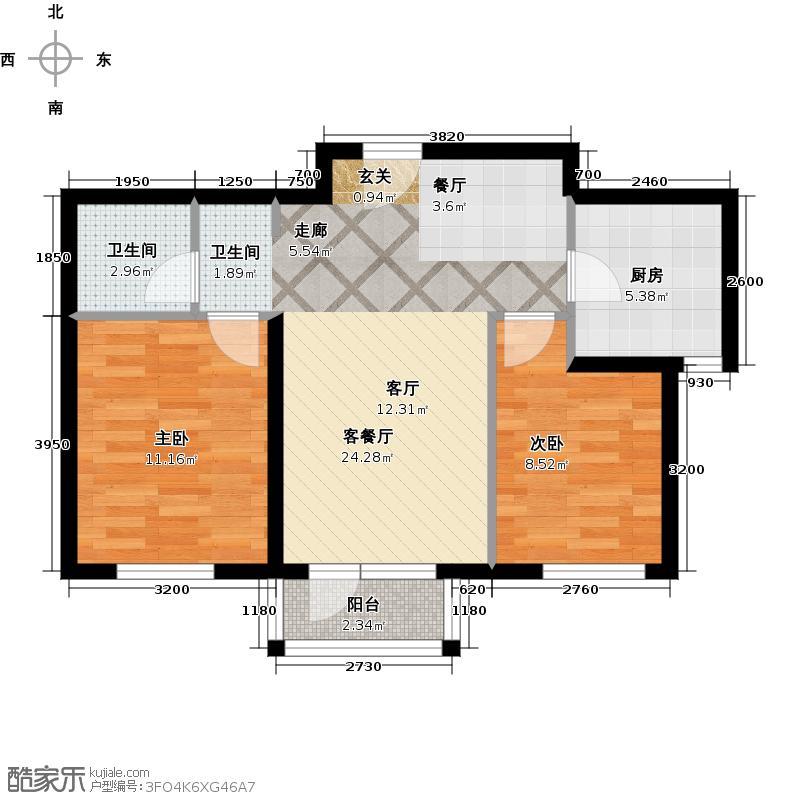 龙湾城84.00㎡小高层B1户型 二室二厅一卫户型2室2厅1卫
