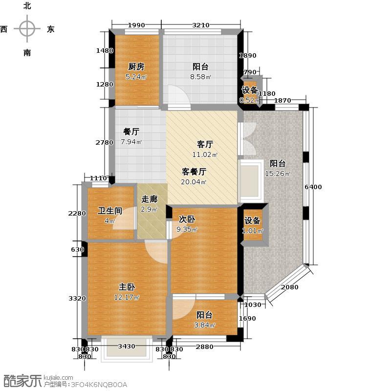恒威上品君园92.76㎡2室2厅1卫1厨户型2室2厅1卫