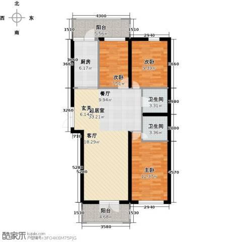 北岸七英里3室0厅2卫1厨96.00㎡户型图