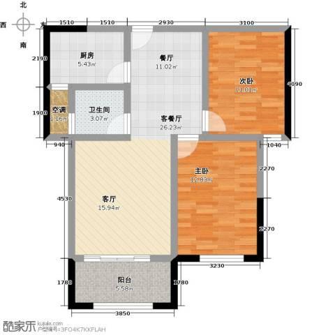 永鸿御珑湾2室1厅1卫1厨95.00㎡户型图