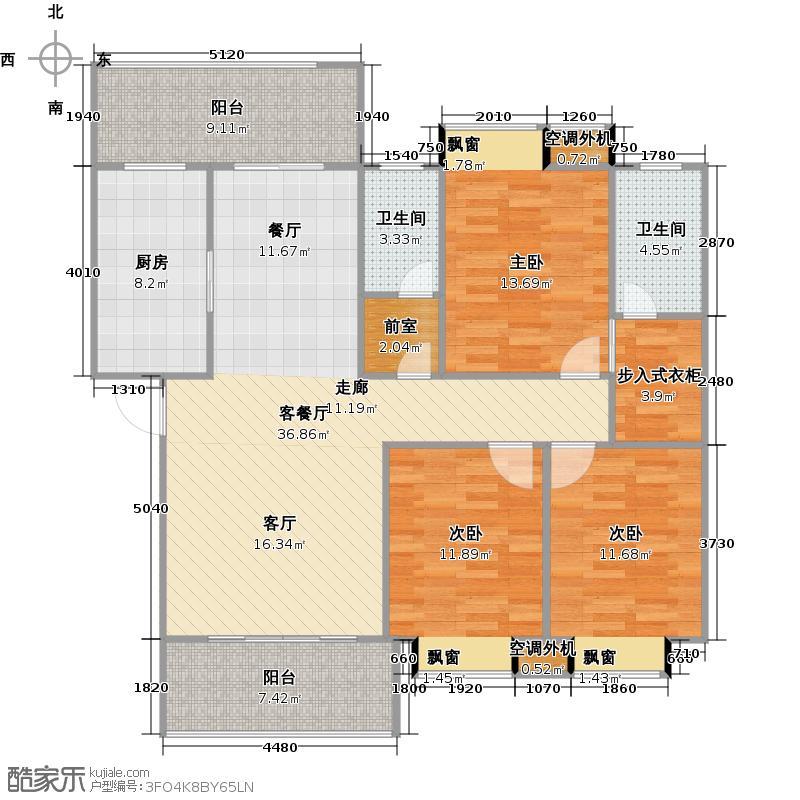 顺鸿一品尚城123.32㎡8#B户型3室2厅2卫
