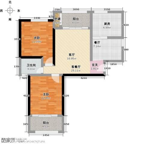 永鸿御珑湾2室1厅1卫1厨101.00㎡户型图