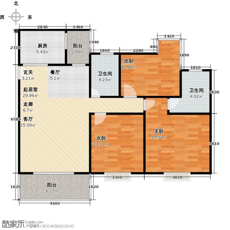 水岸新城3房2厅2卫(M)户型
