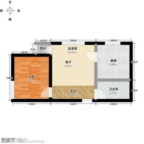 水木康桥三期花语岸1室0厅1卫1厨55.00㎡户型图