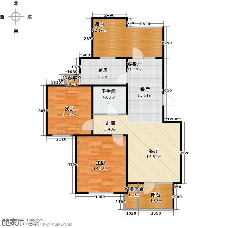 芒果郡86.00㎡两室两厅一卫-85.88平米户型