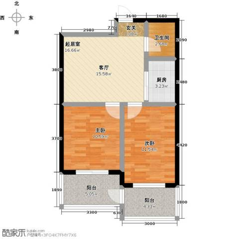 水木康桥三期花语岸2室0厅1卫1厨77.00㎡户型图