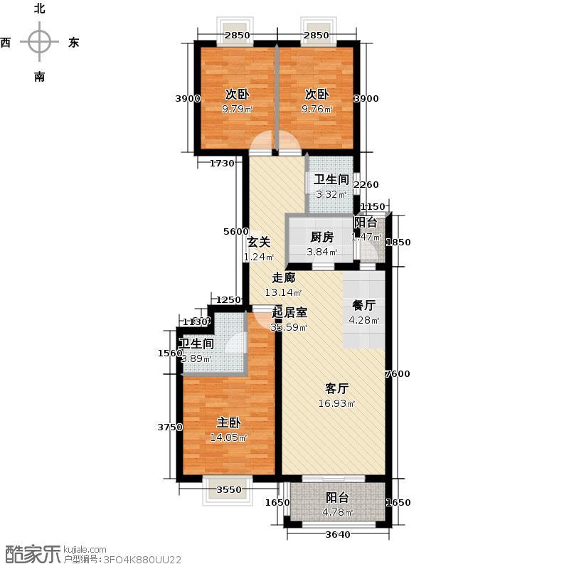 银地家园118.88㎡7号楼A反型三室两厅两卫户型
