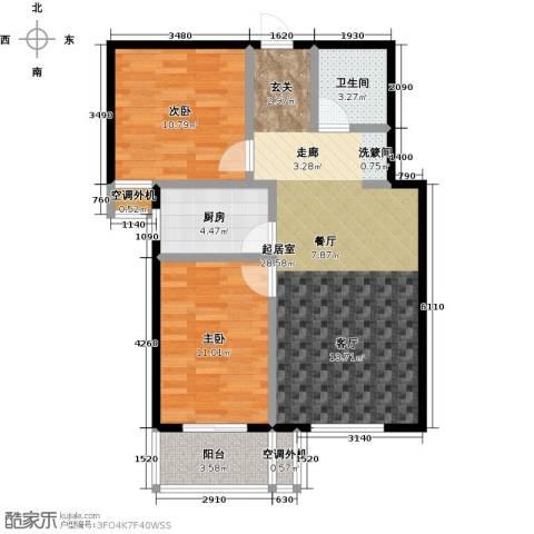 博世花倾城二区2室0厅1卫1厨80.00㎡户型图