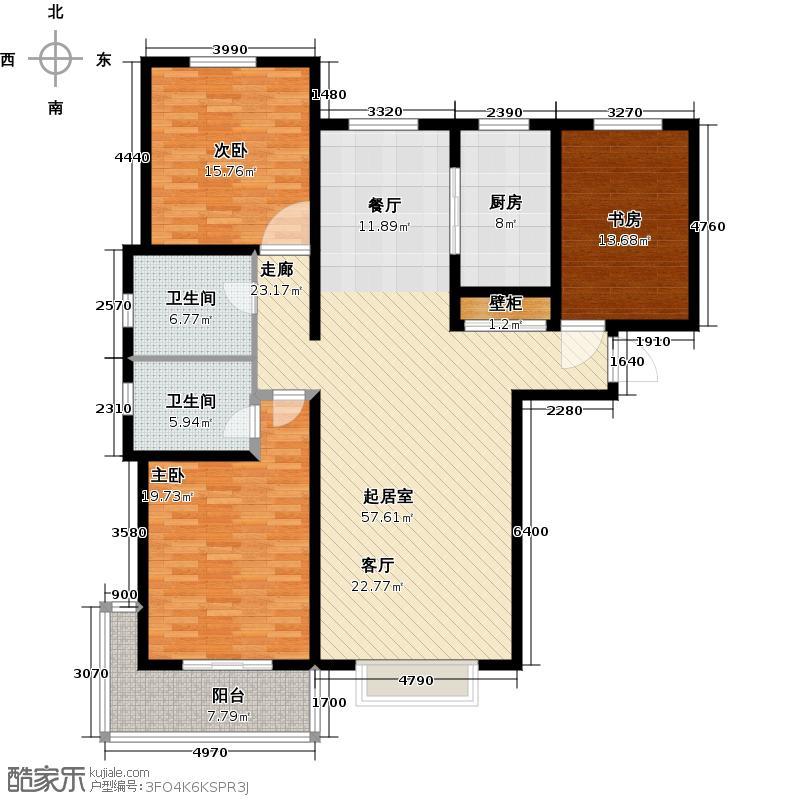 鑫科时尚公馆154.16㎡C-A2三室二厅二卫户型