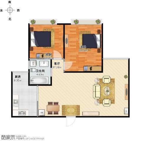星湖客2室1厅1卫1厨100.00㎡户型图