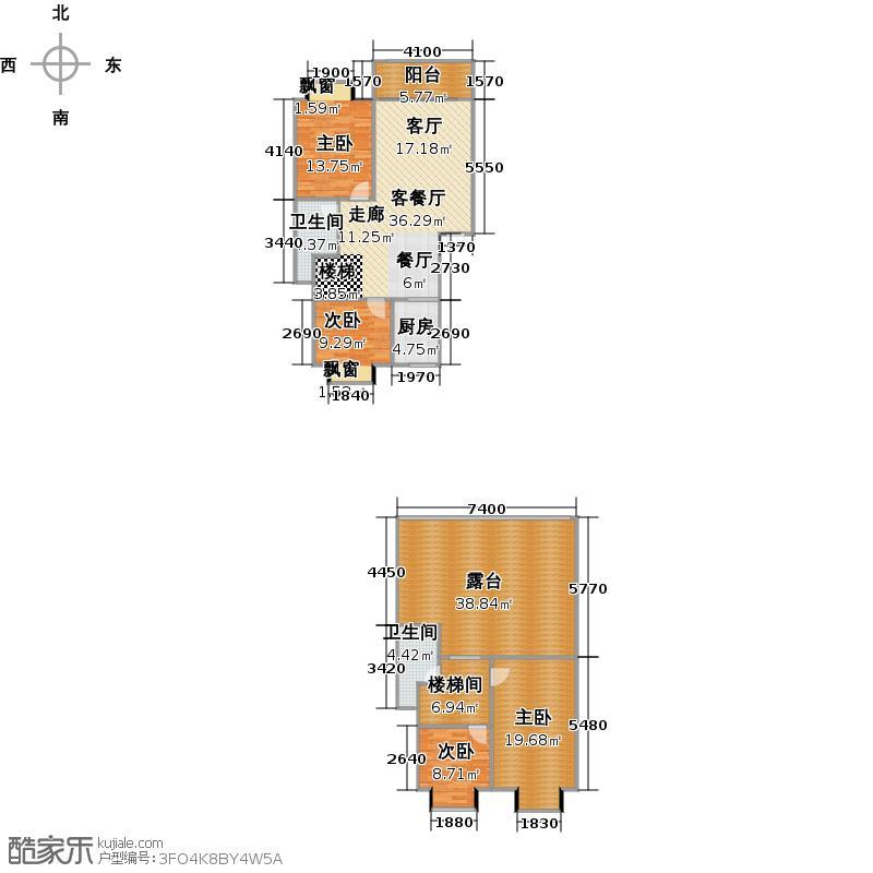 顺鸿一品尚城复式C户型四房两厅两卫户型4室2厅2卫