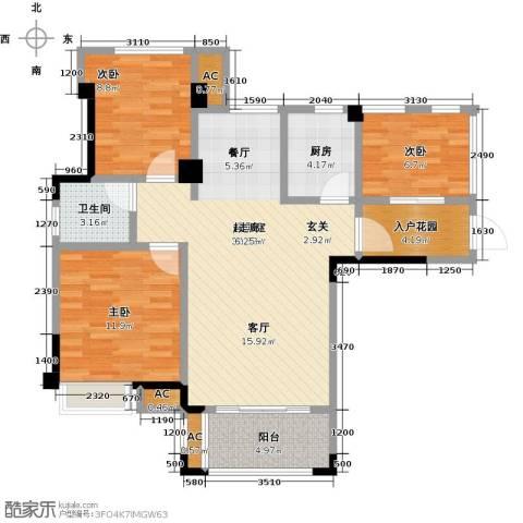 禹洲城上城3室0厅1卫1厨110.00㎡户型图