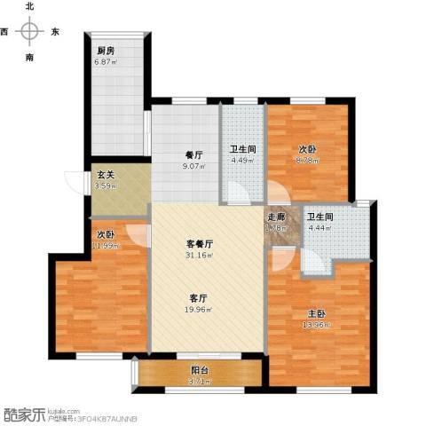 首创・象墅3室1厅2卫1厨120.00㎡户型图