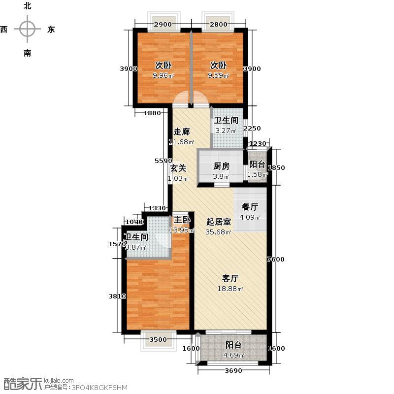 银地家园98.57㎡三室二厅二卫户型