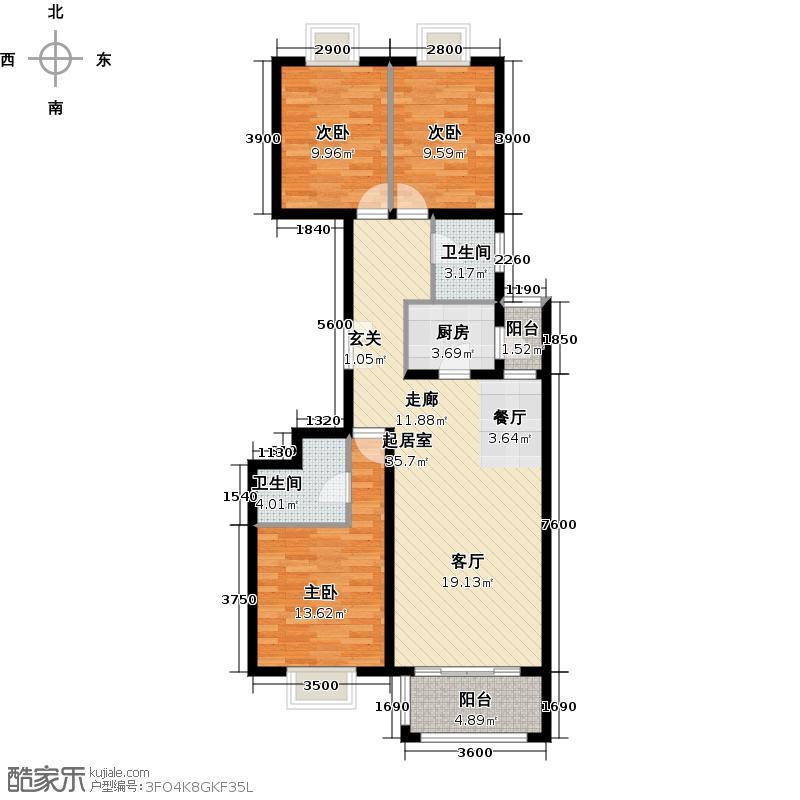银地家园98.79㎡三室二厅二卫户型