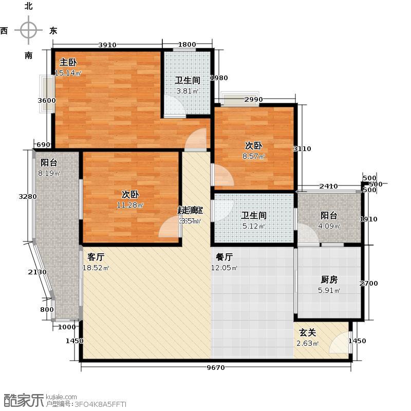 水岸新城户型3室2卫1厨