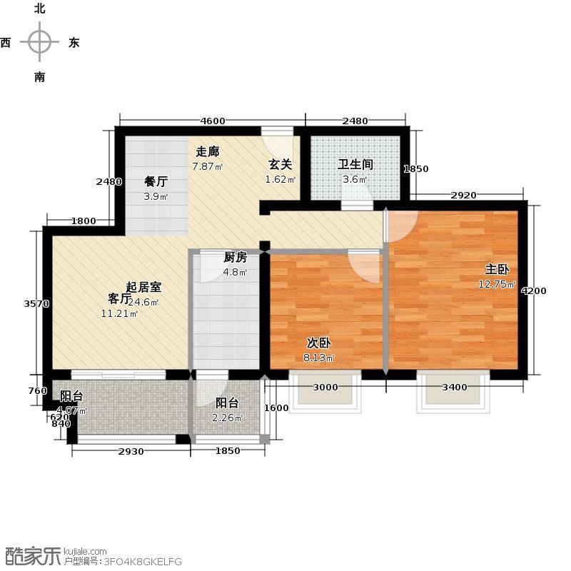 银地家园81.91㎡二室二厅一卫户型