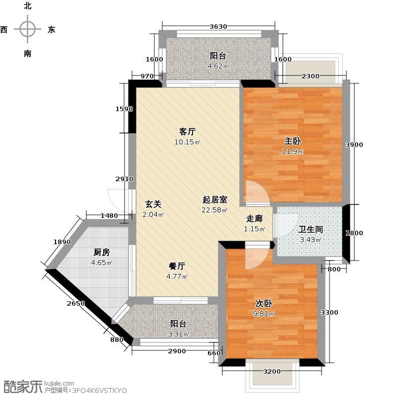 东兴边贸中心北仑华府户型2室1卫1厨