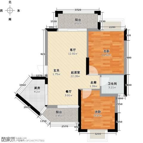东兴边贸中心北仑华府2室0厅1卫1厨81.00㎡户型图