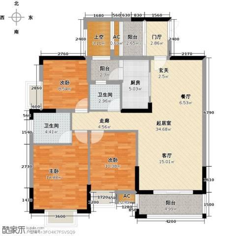 东兴边贸中心北仑华府3室0厅2卫1厨125.00㎡户型图